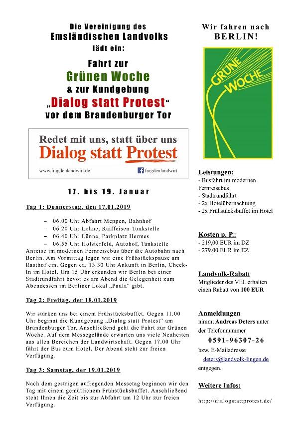 """Die Vereinigung des Emsländischen Landvolks lädt ein: Fahrt zur Grünen Woche & zur Kundgebung """"Dialog statt Protest"""" vor dem Brandenburger Tor"""